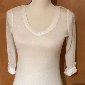 Semi sheer V-neck top